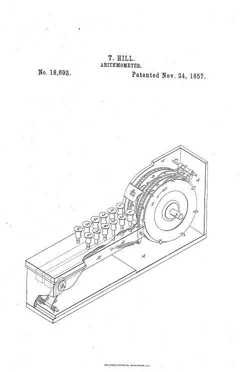Thomas Hill patent drawing, 1857