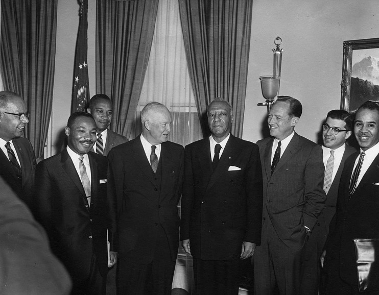 A. Philip Randolph, vice president of the CIO, with President Eisenhower, 1958