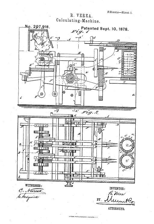 Ramón Verea patent drawing, 1878