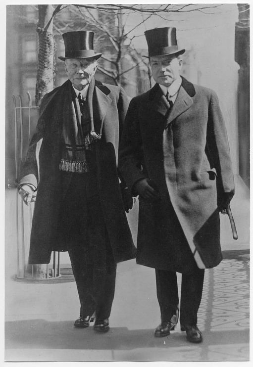 John Rockefeller and son, 1921