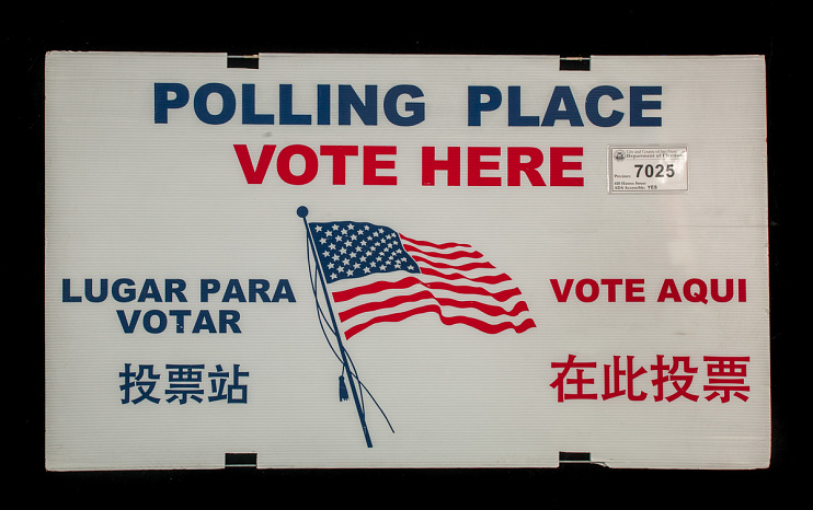 English/Spanish/Chinese poll sign, 2014