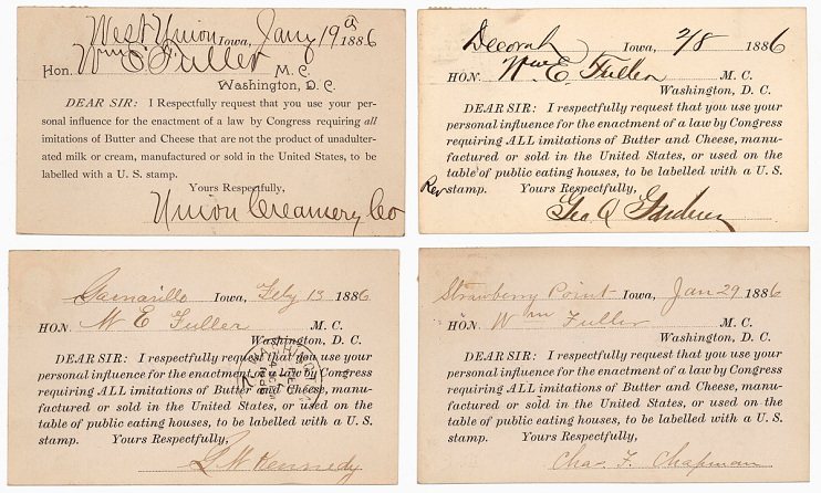 Postcards sent to Congressman William Fuller requesting support for the labeling of imitation butter and cheese, 1886