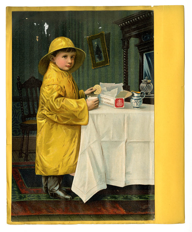 Trade card with promotional character known as Slicker Boy, about 1900