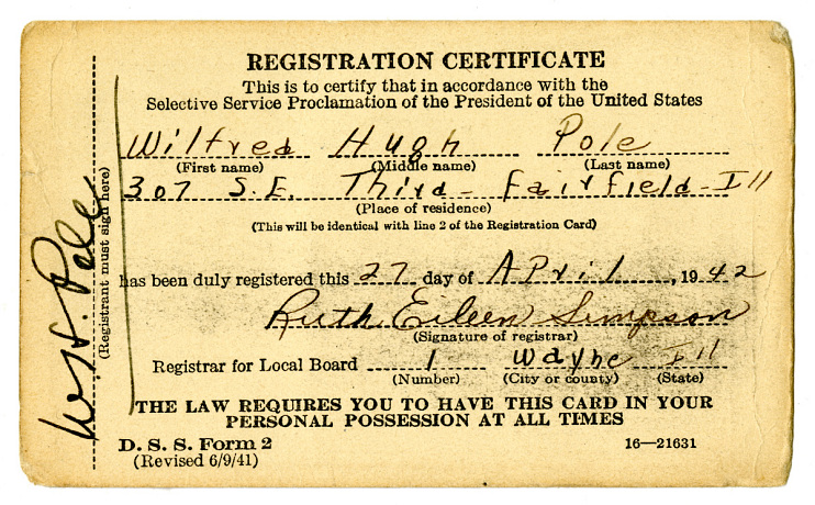World War II-era Selective Service registration card, April 27, 1942
