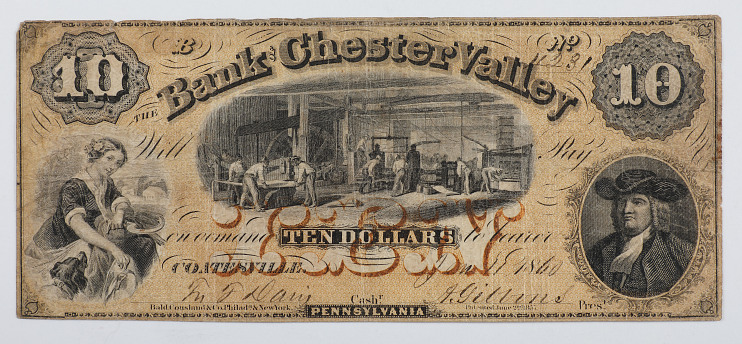Bank of Chester Valley $10 note, 1860