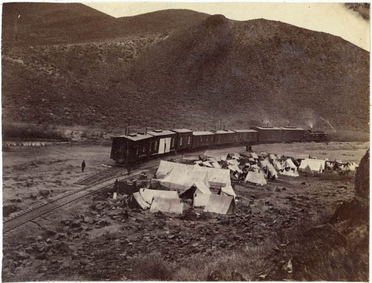 Camp, near Humboldt Wells, Nevada, about 1869