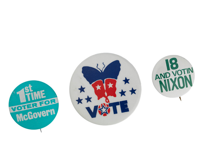 Buttons from the 1972 presidential campaign
