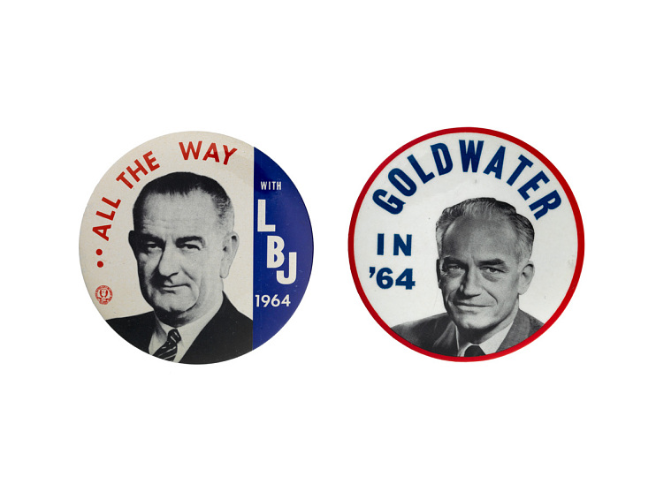 Campaign buttons from the 1964 presidential election