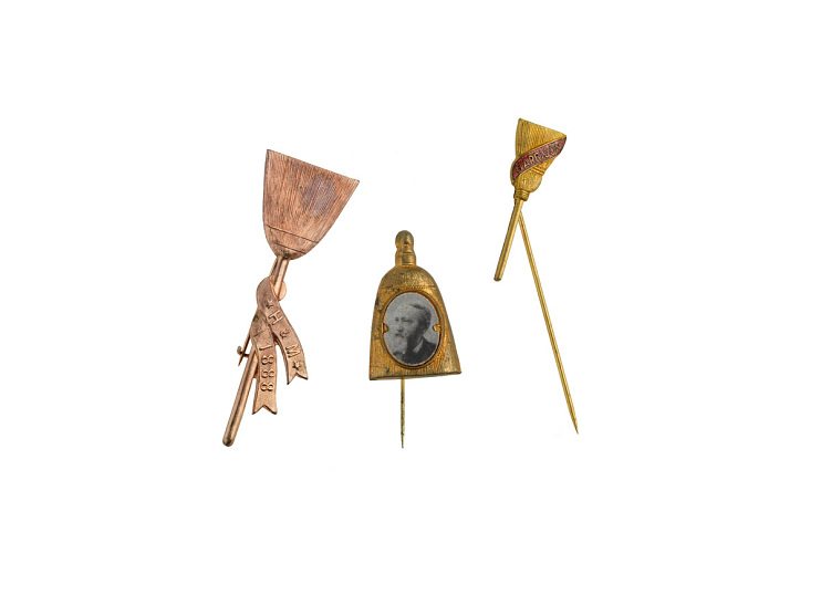 Campaign broom pins, 1888