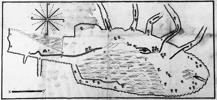 Map of Rancho Camulos, part of the larger Rancho San Francisco, around 1843
