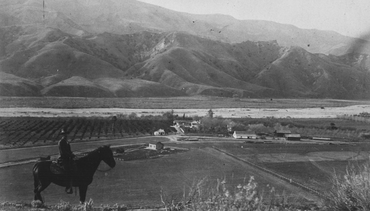 J. Y. Del Valle overlooking Rancho Camulos, late 1880s–early 1900s