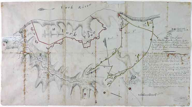 George Washington's Yorktown Siege Map, 1781