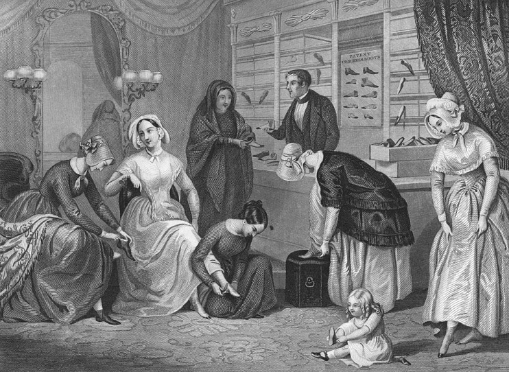 Shopping for shoes, 1848