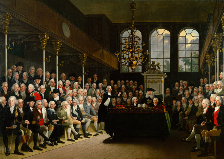 The House of Commons, lower house of Parliament, depicted by Karl Anton Hickel, 1793