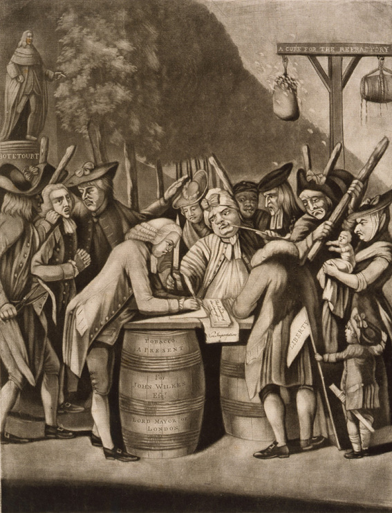 "Detail from ""The Alternative of Williamsburg,"" by Philip Dawe, 1775"