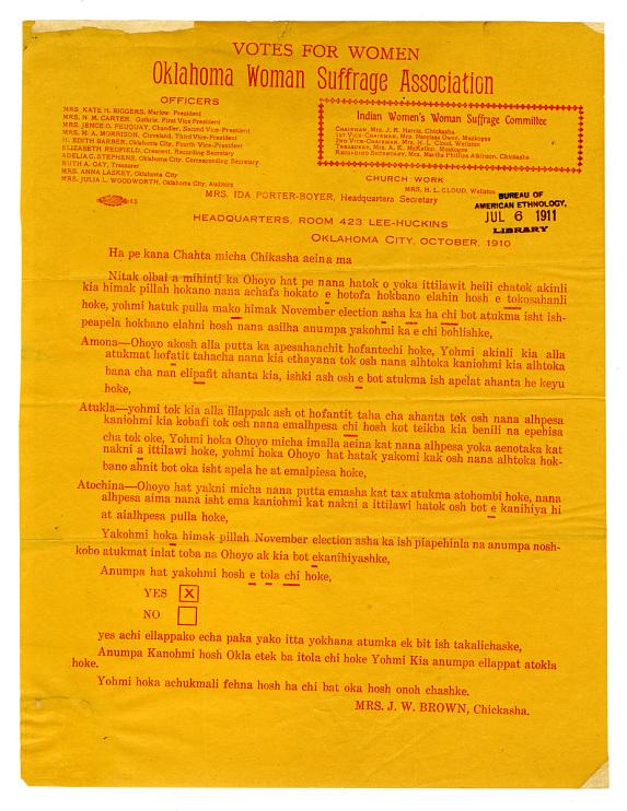 Chickasaw woman suffrage handbill, 1910