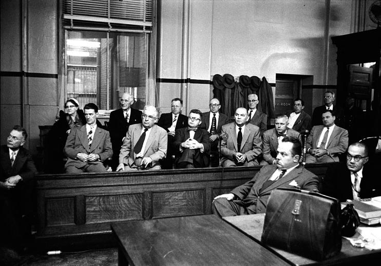 Photograph of jury listening to evidence, Louisville, Kentucky, 1954