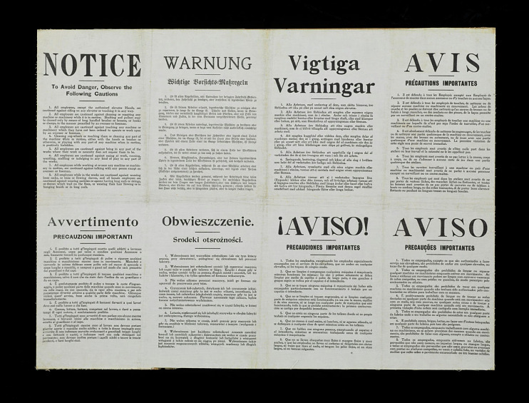 Safety sign in eight languages, about 1910
