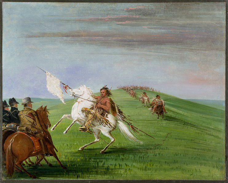 Comanche Meeting the (Fort Gibson) Dragoons, by George Catlin, 1834–1835