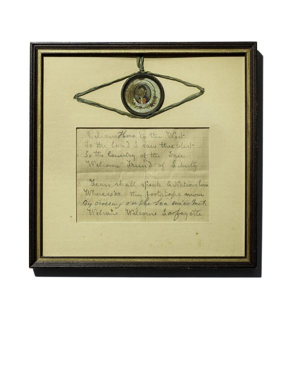Framed note from General Lafayette