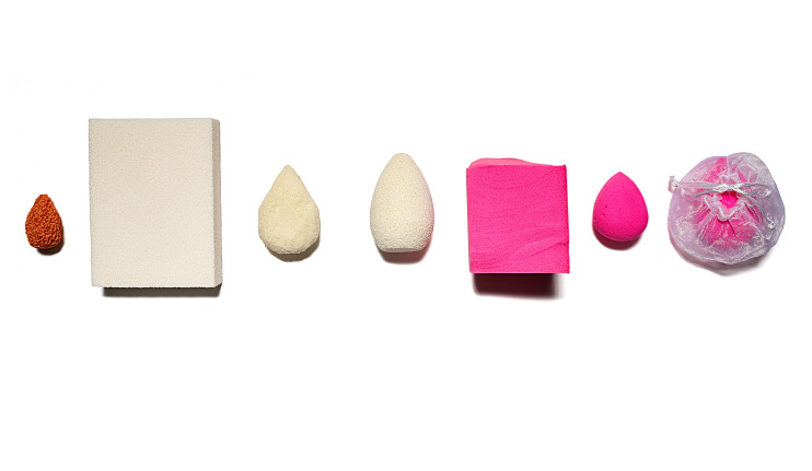 Progression of sponges from prototype to current, including various materials