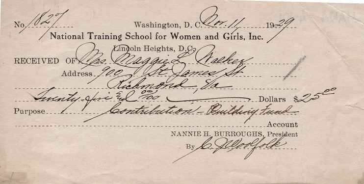 Receipt from National Training School for Women and Girls, 1929