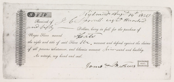 Receipt of slave sale, issued to J.C. Sproull, by Jones and Matthews, Richmond, Virginia, 1850