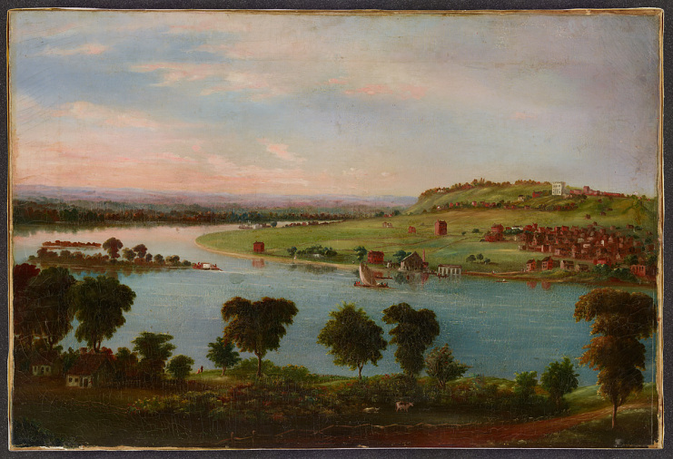 Nauvoo as remembered in an Icarian painting, by Emile Vallet, around 1890