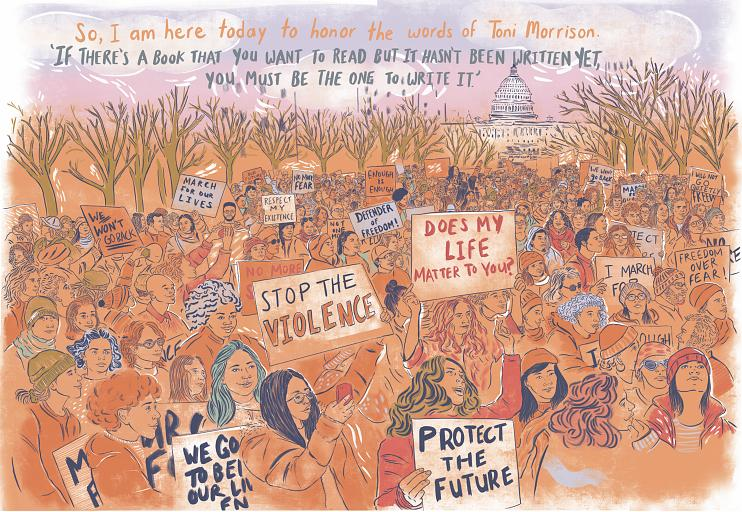 Illustration by Krystal Quiles on the March for Our Lives rally in 2018.