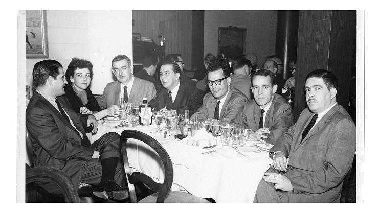 Sara Sunshine and colleagues at El Liborio Restaurant, 1963
