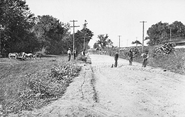 Road building in Massachusetts, 1886