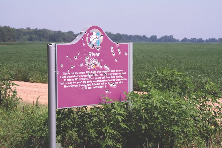 The River Site marker by the Tallahatchie River from which Emmett Till's body was recovered in 1955