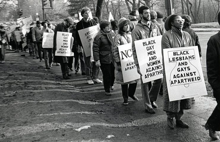 Demonstrators at the South African Embassy, Washington, D.C., 1985