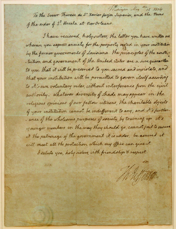 Thomas Jefferson: Letter to the Ursuline Sisters of New Orleans