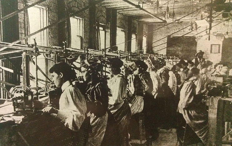 "Drilling eyes at a ""pearl"" button factory, 1890s"