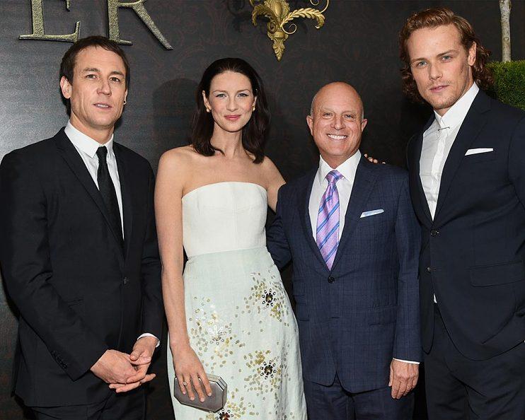 Outlander season two premiere, New York City—L-R, Tobias Menzies, Caitriona Balfe, Chris Albrecht, Sam Heughan