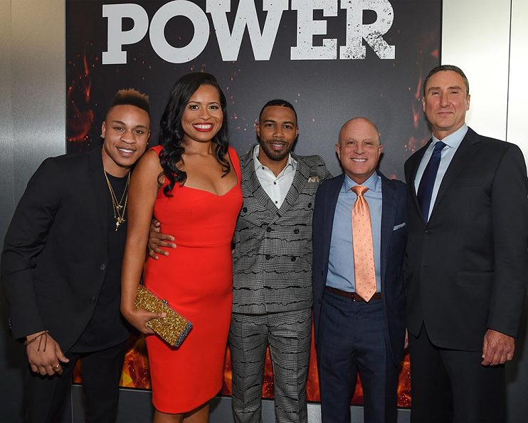Power season three premiere—L-R, Rotimi Akinosho, Courtney Kemp, Omari Hardwick, Chris Albrecht, Carmi Zlotnik