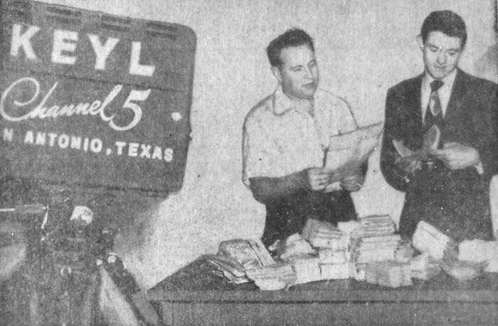Program Director Bill Robb (left) and Emcee Frank Bennack look over mail received in the Time for Teens program, circa 1951