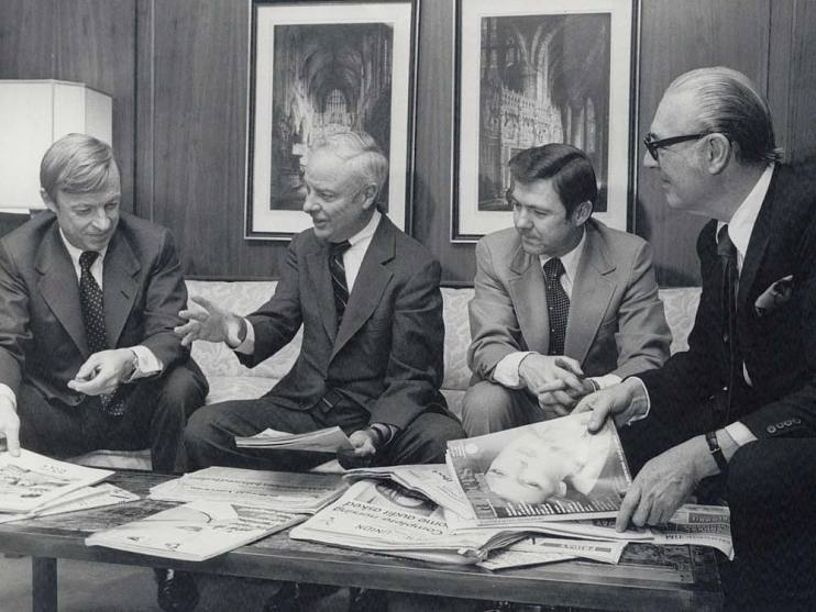 Frank Bennack (second from right) and Gil Maurer (far left), Hearst's new management team, meet with their predecessors, John Miller (second from left) and Richard Deems (far right), circa 1975