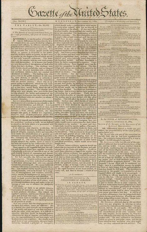 Early Printing of the Bill of Rights, 1789