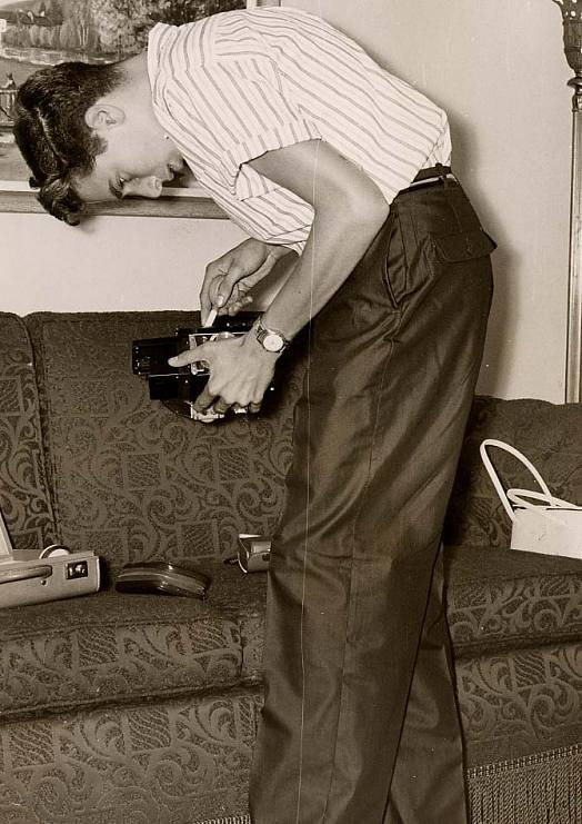 Jerry Bruckheimer has always had an interest in photography and film. Here is Bruckheimer with his first camera, circa 1955.