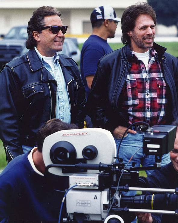 Don Simpson and Jerry Bruckheimer on the set of Bad Boys, 1994.
