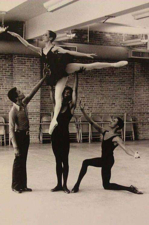 Homer Hans Bryant in rehearsal with Arthur Mitchell, Virginia Johnson, and Paul Russell, 1974