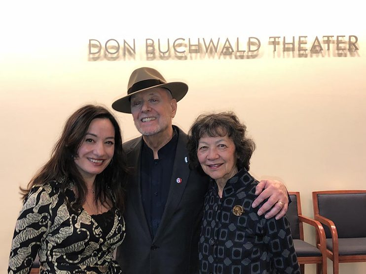 Laura, Don, and Maggie at the opening of the Don Buchwald Theater, February 20, 2019
