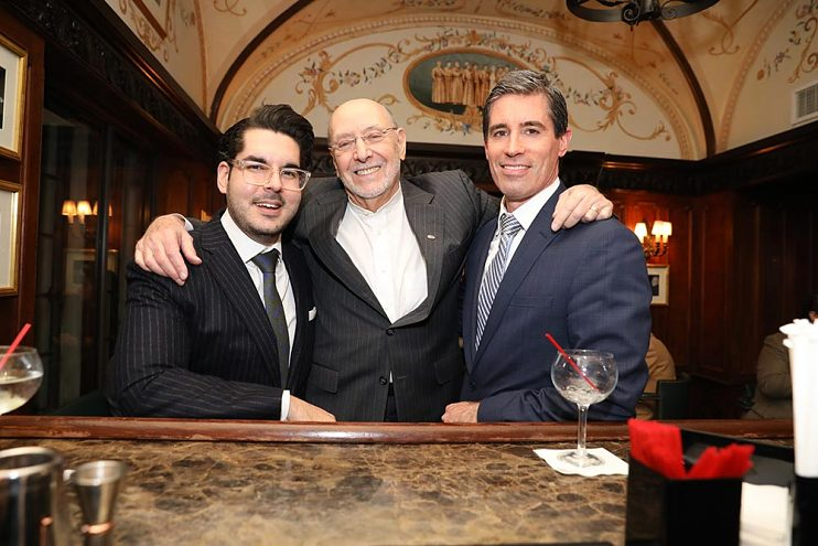 Don (center) with Maximilian Ulanoff (left) and Jonathan Mason at the Friars Club, 2018