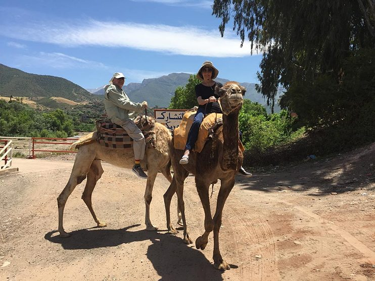 Don and Maggie on camels in Morocco, May 2017