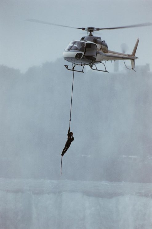 David Copperfield hanging from helicopter at Niagara Falls, 1990