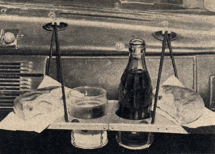 Photograph of dashboard snack tray, 1950