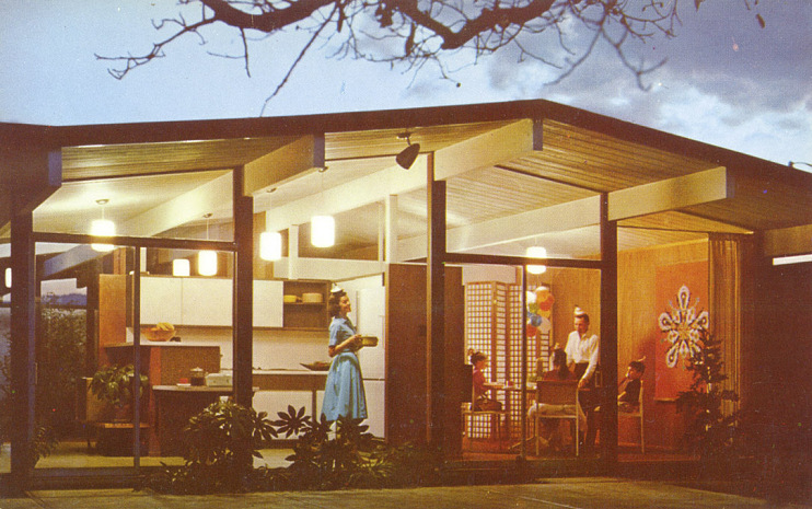 Postcard of Eichler home, 1950s