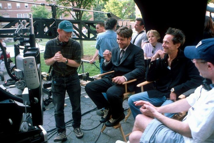 Ron Howard, Russell Crowe, and Brian Grazer on the set of A Beautiful Mind